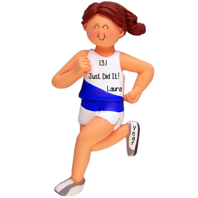 female 1st half marathon runner 13 1 ornament brunette