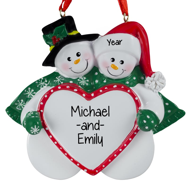personalized snow couple holding heart christmas ornament