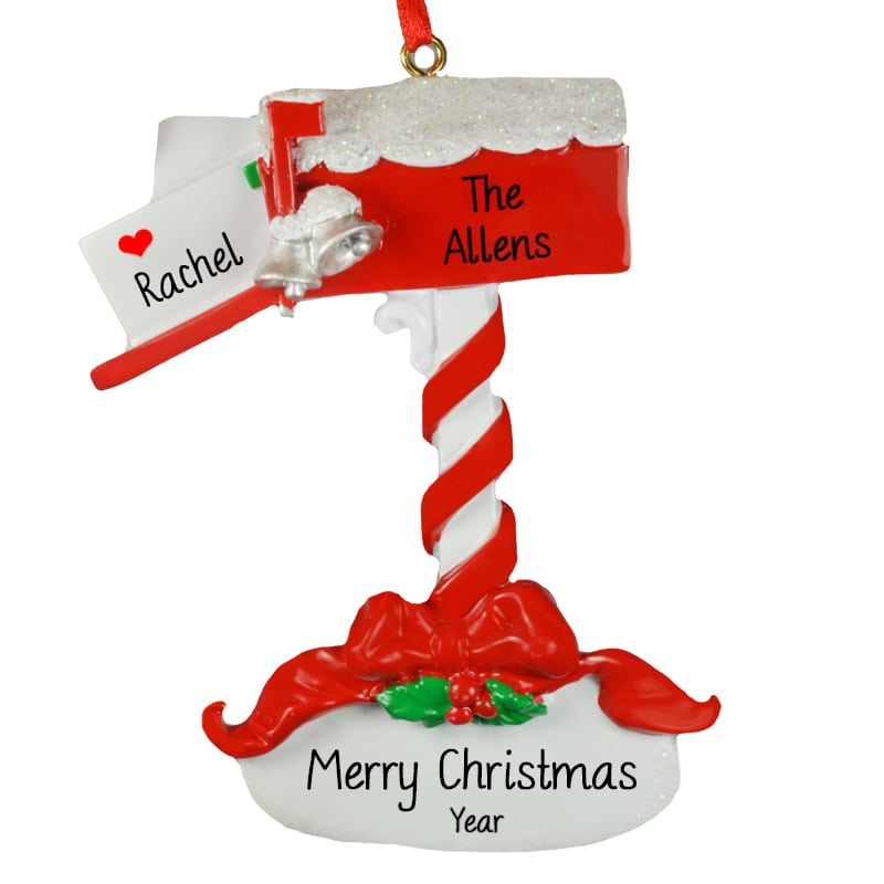Christmas Mailbox.Personalized Christmas Mailbox Glittered Snow Ornament