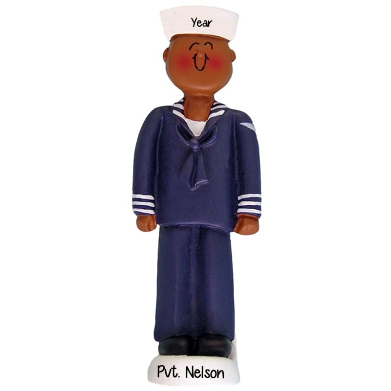 Naval Christmas Ornaments.African American Male Navy Sailor Christmas Ornament