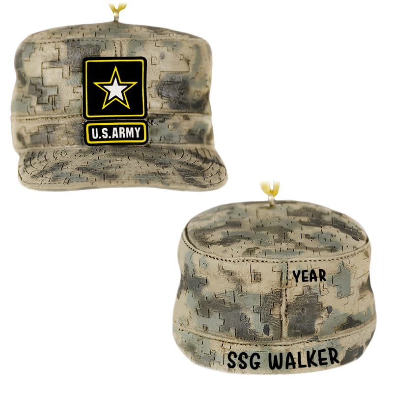 0c76bb9d4767bb Personalized US ARMY Cap Christmas Ornament