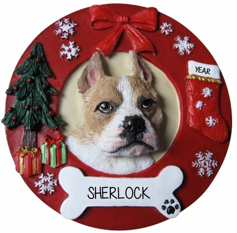 Pitbull Christmas Ornament.Pitbull Tan White Dog On Christmas Wreath Ornament