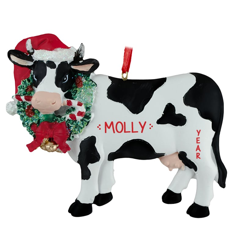 f6e678ad Cow Wearing Santa Hat And Christmas Wreath Ornament