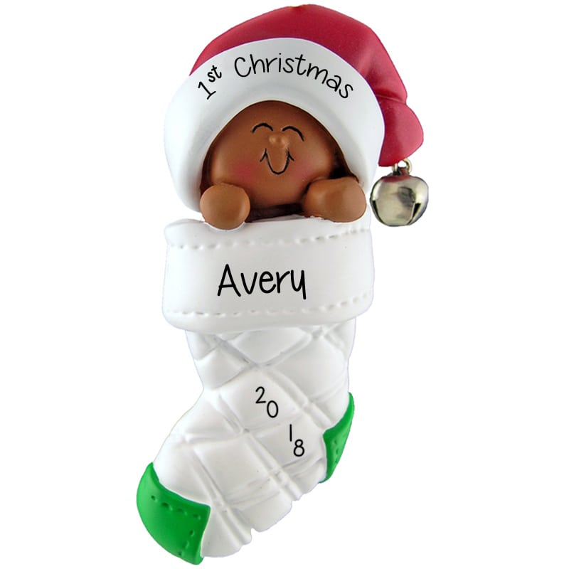 African American Baby/'s 1st Christmas Personalized Ornament