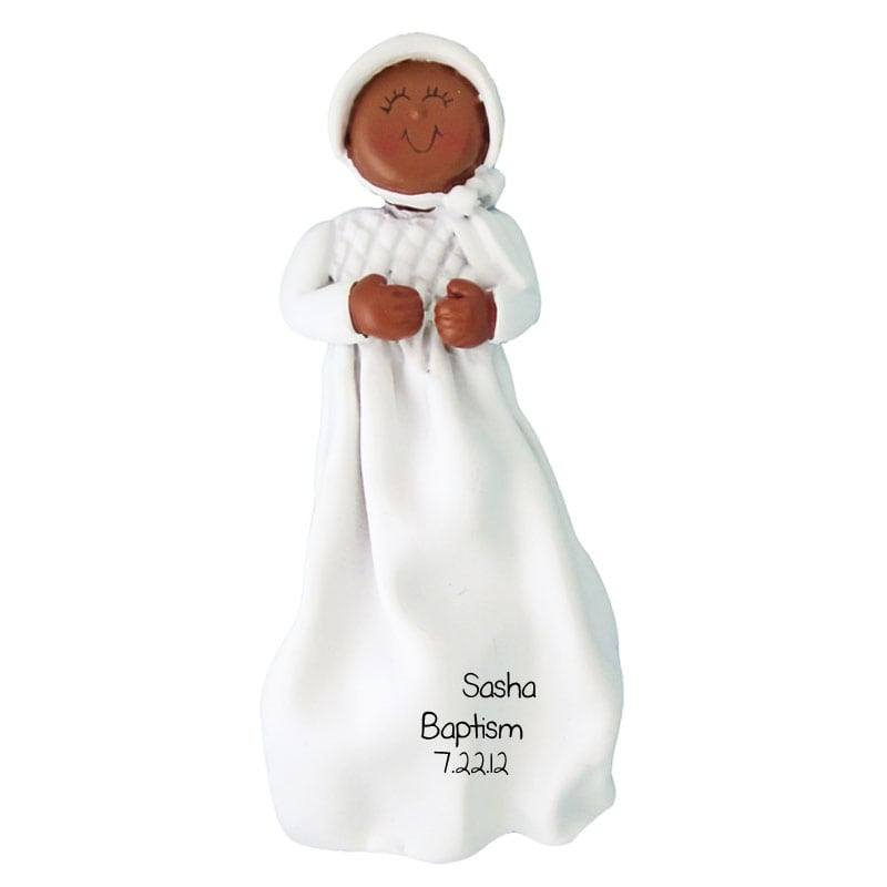 Baptism Ornament Cross Ornament Girl Baptism Ornament Girl: Baptism Ornament African American Baby Girl In Dress