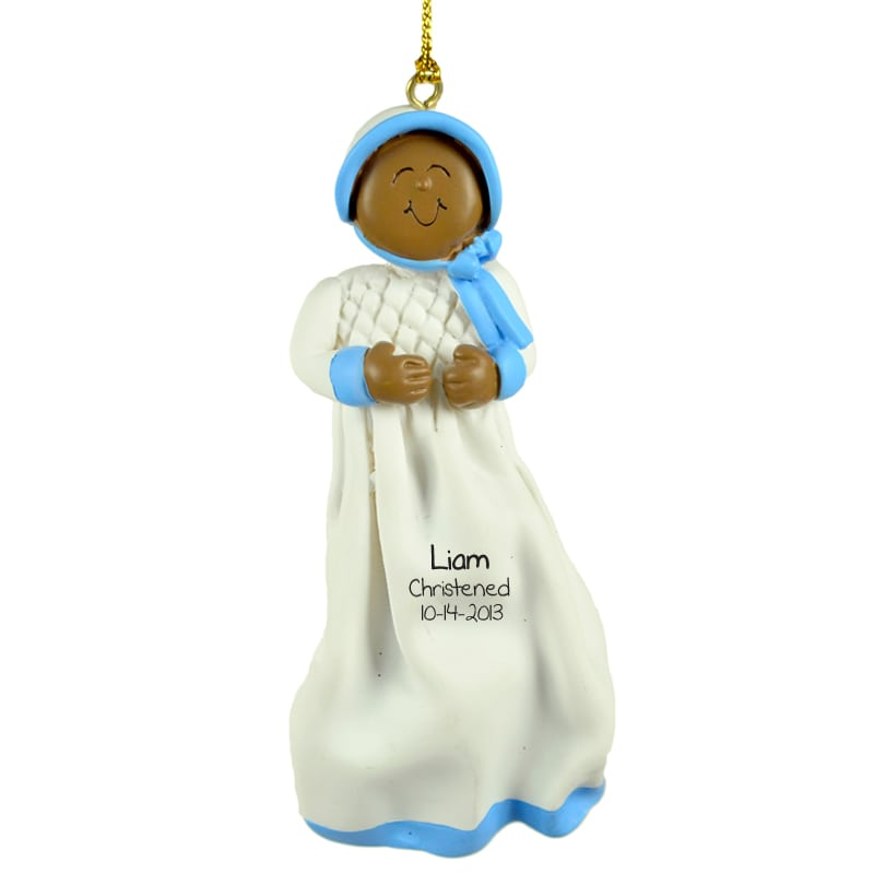 Baptism Ornament Christmas Ornament Personalized Baby: Christening Personalized Ornament African American Baby