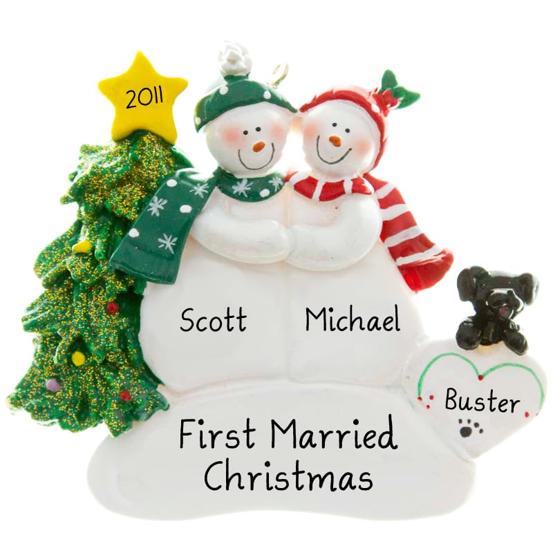 Dogs First Christmas Ornament.First Married Christmas Gay Couple With Black Dog Ornament