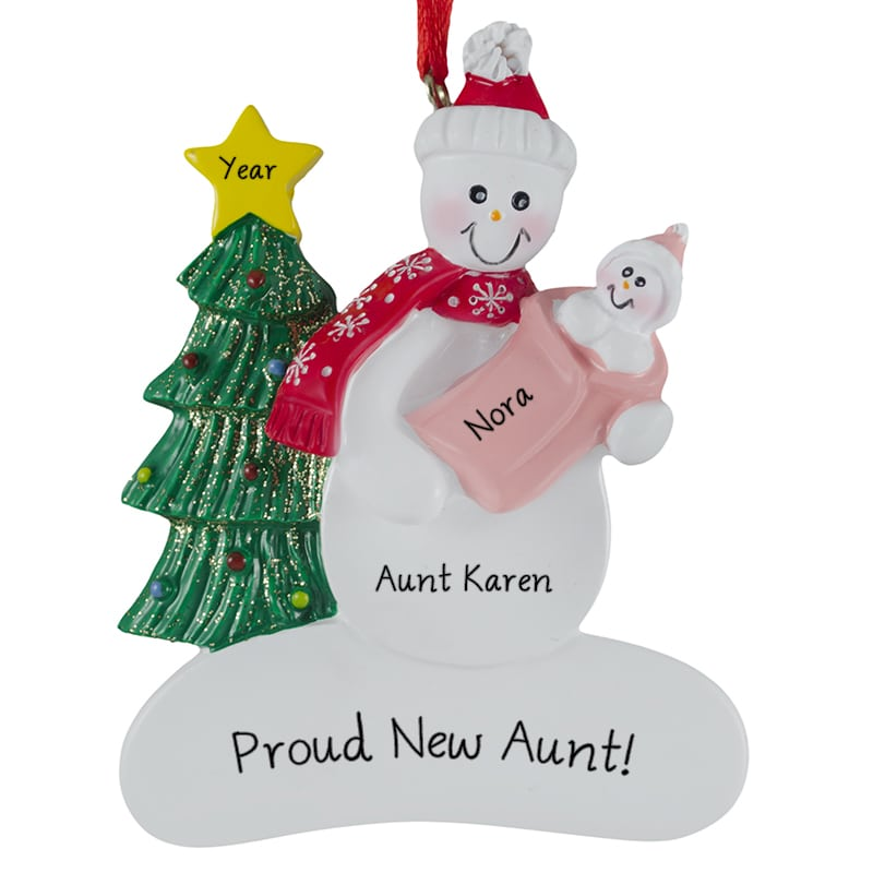 first christmas as an aunt snowman baby girl ornament