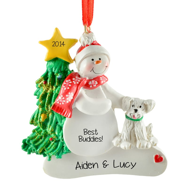 best friends snowman with white dog christmas ornament