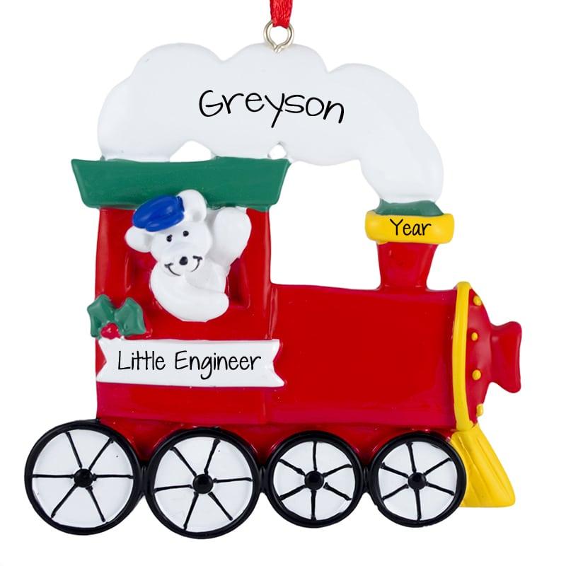 LOCOMOTIVE Train Resin Christmas Ornament-Red//Black//Yellow
