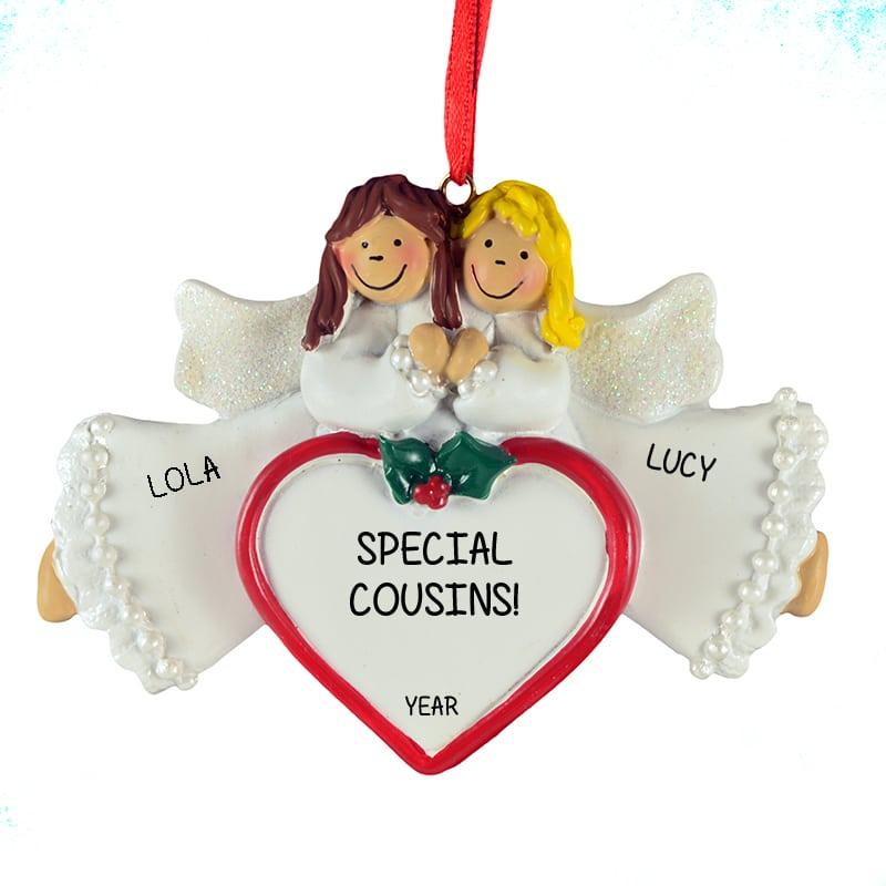 2 cousins angels ornament brunette blonde personalized ornaments