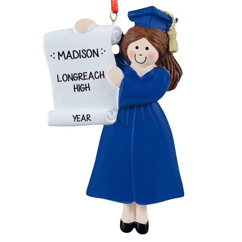 Personalized GIRL Graduate BLUE Cap & Gown Ornament BRUNETTE ...
