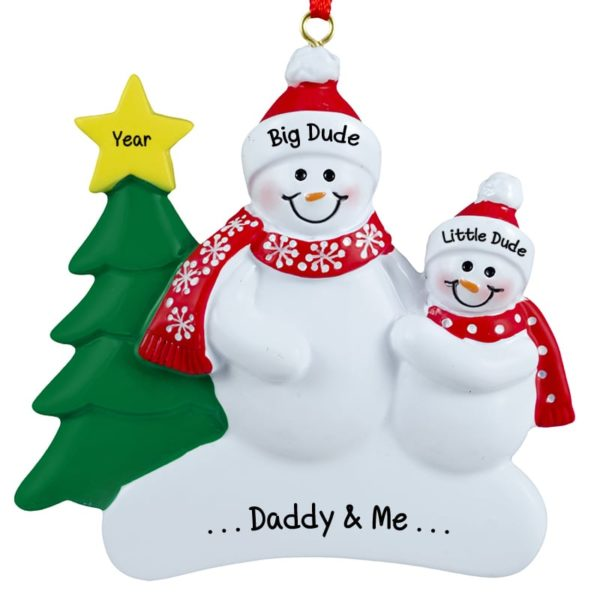 personalized dad with son snowmen holiday ornament - Dad Christmas Ornament