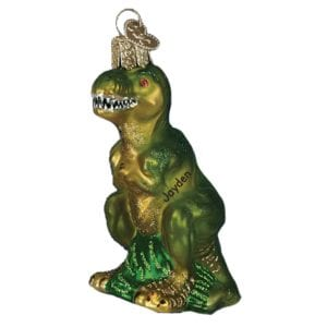 t rex dinosaur green glass personalized christmas ornament