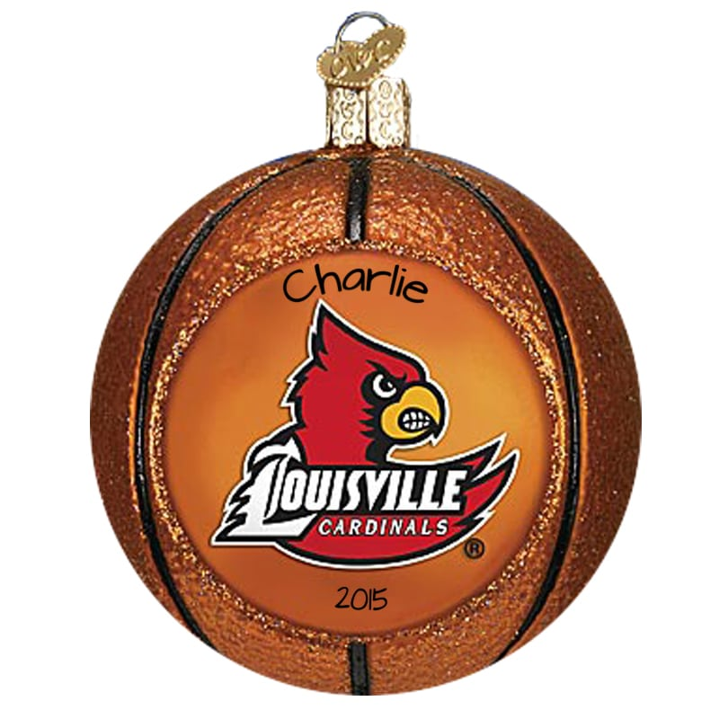 Personalized Louisville Cardinals Basketball GLASS Christmas Ornament