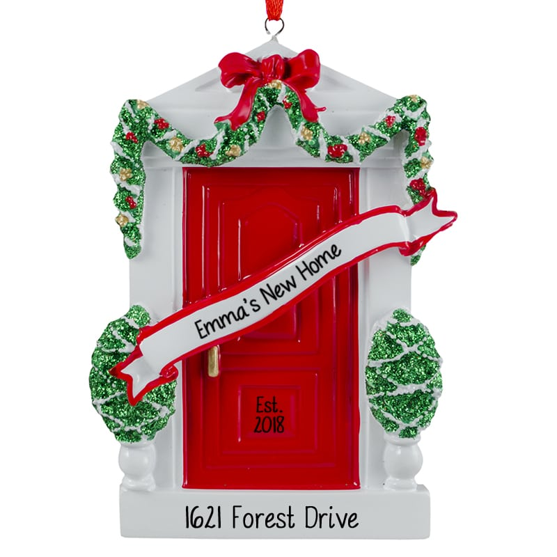 new home red door personalized christmas ornament - Chicago Christmas Ornaments