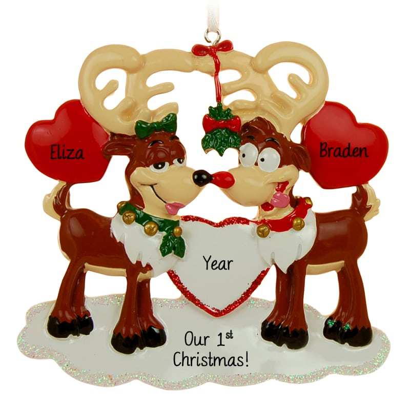 personalized our 1st christmas reindeer couple ornament couple
