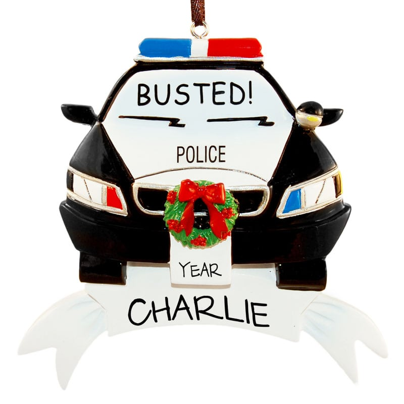 police car busted christmas ornament