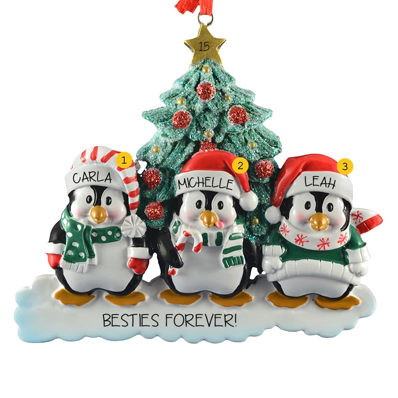 personalized 3 best friends penguins holiday ornament
