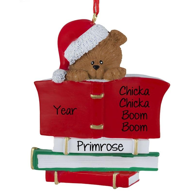 2d3266b2b6d48 Child Reading Book Bear Christmas Ornament
