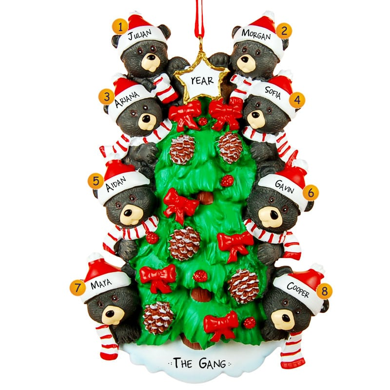 Personalized 8 Black Bears On Christmas Tree Ornament
