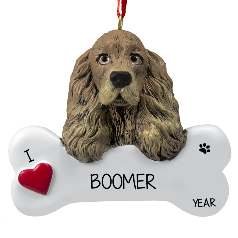 Personalized Cocker Spaniel Dog On Bone Ornament Personalized Ornaments For You