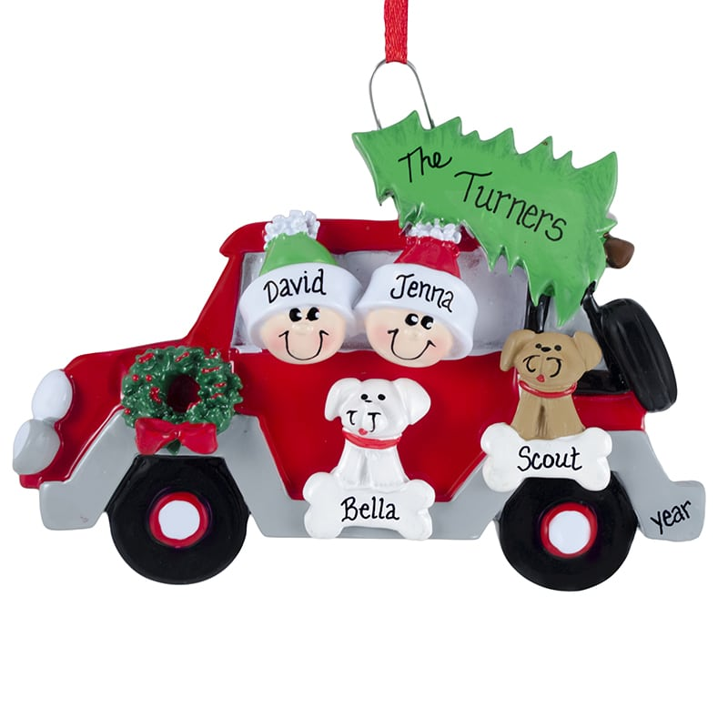 Car Christmas Ornaments.Personalized Car Couple With 2 Dogs Christmas Ornament
