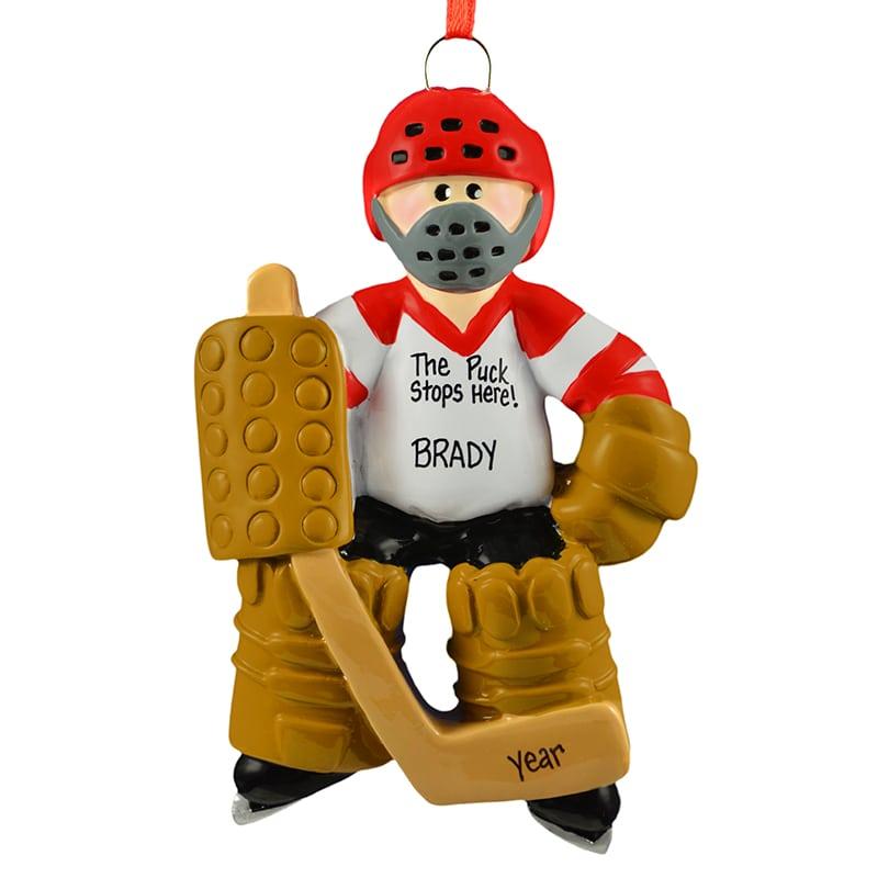 personalized ice hockey goalie wearing face mask ornament - Hockey Christmas Ornaments