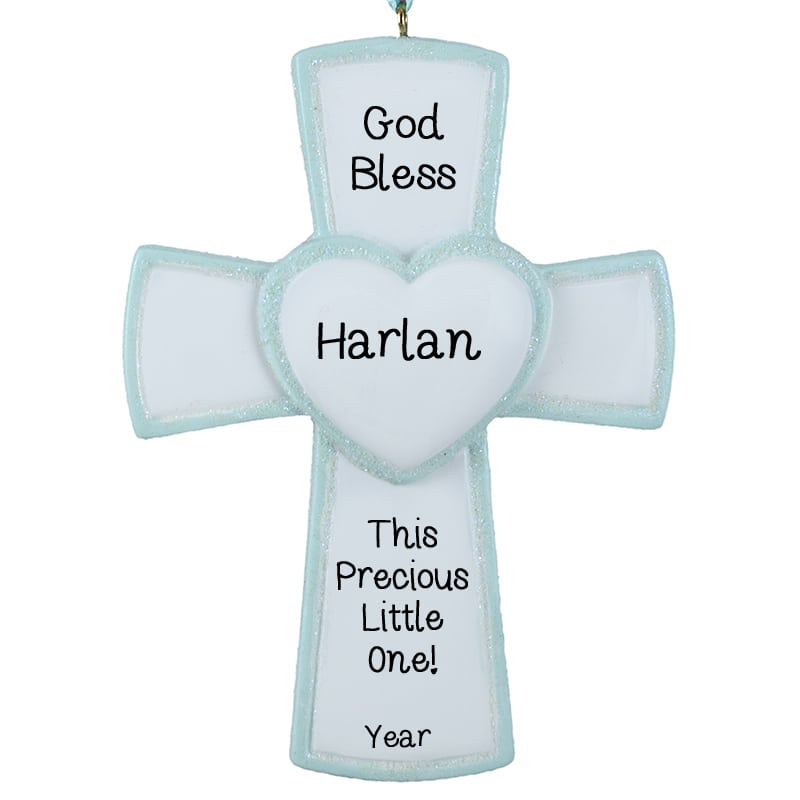 Cross Ornament For Girl Or Boy: Personalized Baby Boy Blessed Cross Christmas Ornament
