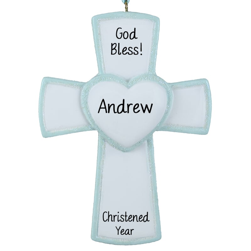 Personalized Baptism Cross Glass Ornament By Specialornaments: Personalized Boy Christening Ornament Cross Blue Glitter