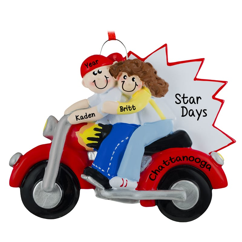 personalized motorcycle couple christmas ornament