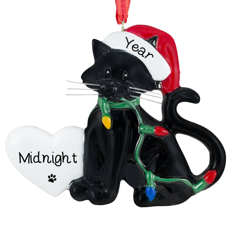 black cat wearing santa hat lights resin ornament - Black Cat Christmas Ornament