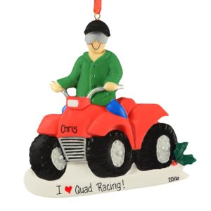atv quad boy riding personalized christmas ornament