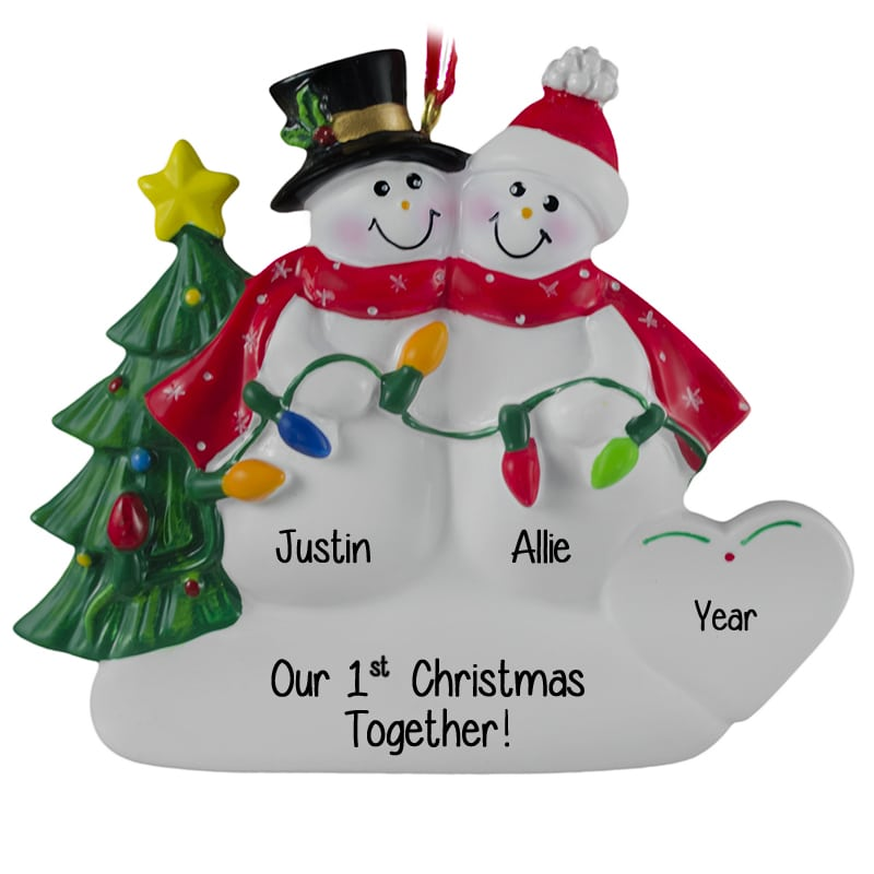 our 1st christmas snow couple holding lights ornament personalized