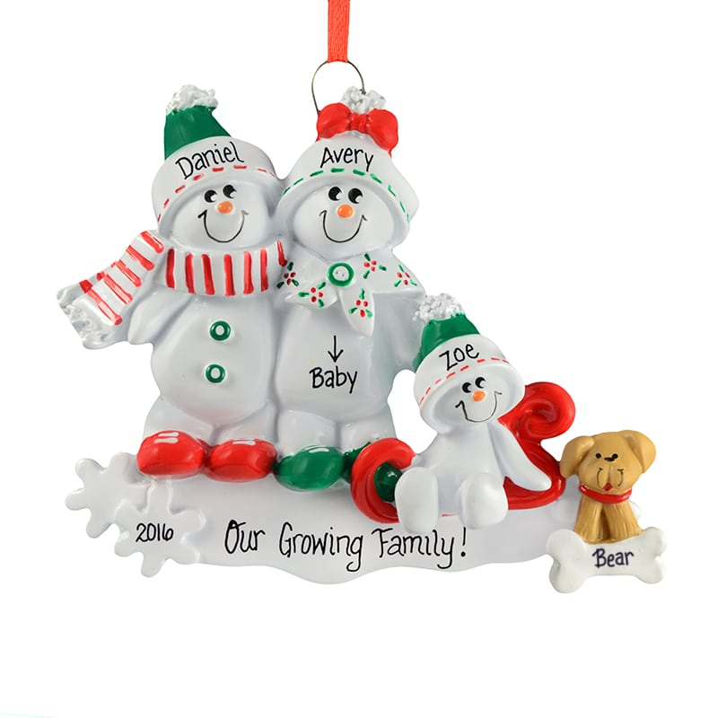 Expecting Christmas Ornaments.Expecting Couple With Child Dog On Sled Ornament