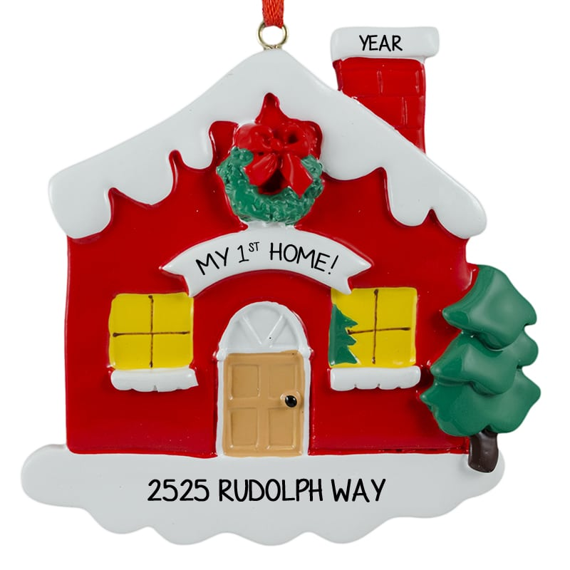 my first home red christmas ornament