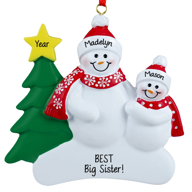 best big sister snow people personalized ornament personalized