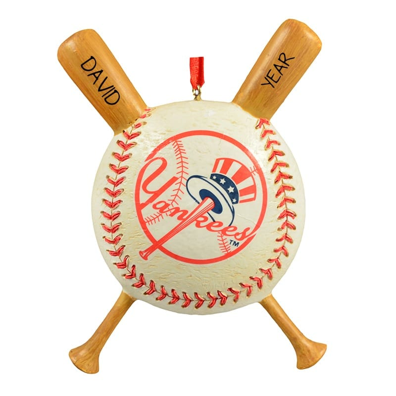 new york yankees ball with bats personalized ornament