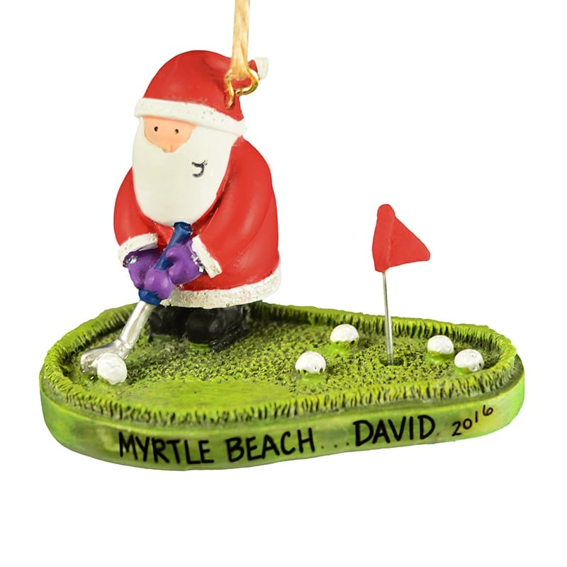 Santa Playing Golf Putting Green Ornament Personalized Ornaments