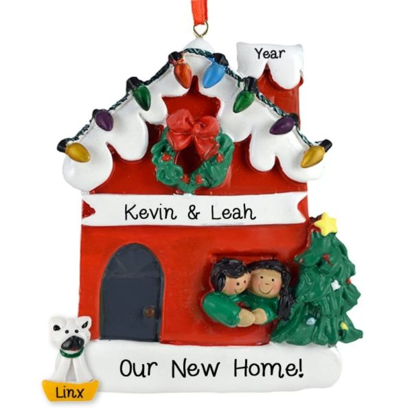 Couple New Home + Cat Ornament AFRICAN AMERICAN