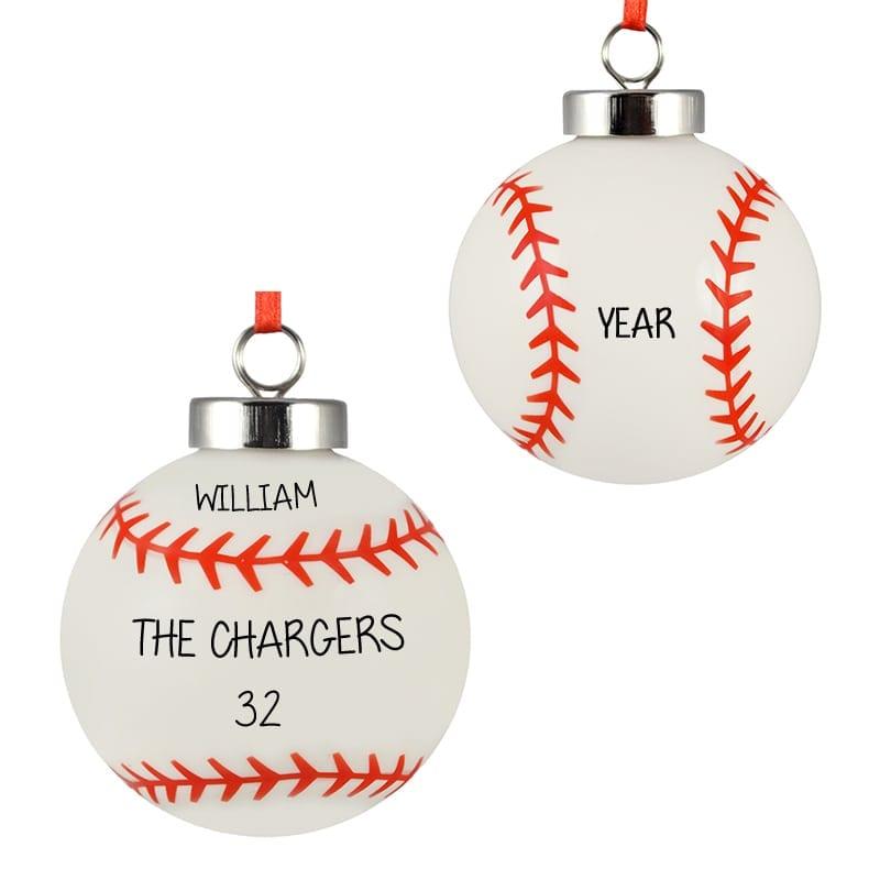 personalized baseball 3 dimensional ceramic ornament - Baseball Christmas Ornaments