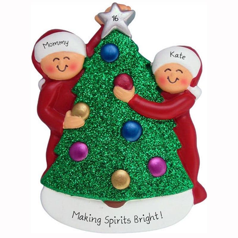Personalized Single Parent + 1 Child Decorating Christmas Tree Ornament - Personalized Single Parent + 1 Child Decorating Christmas Tree