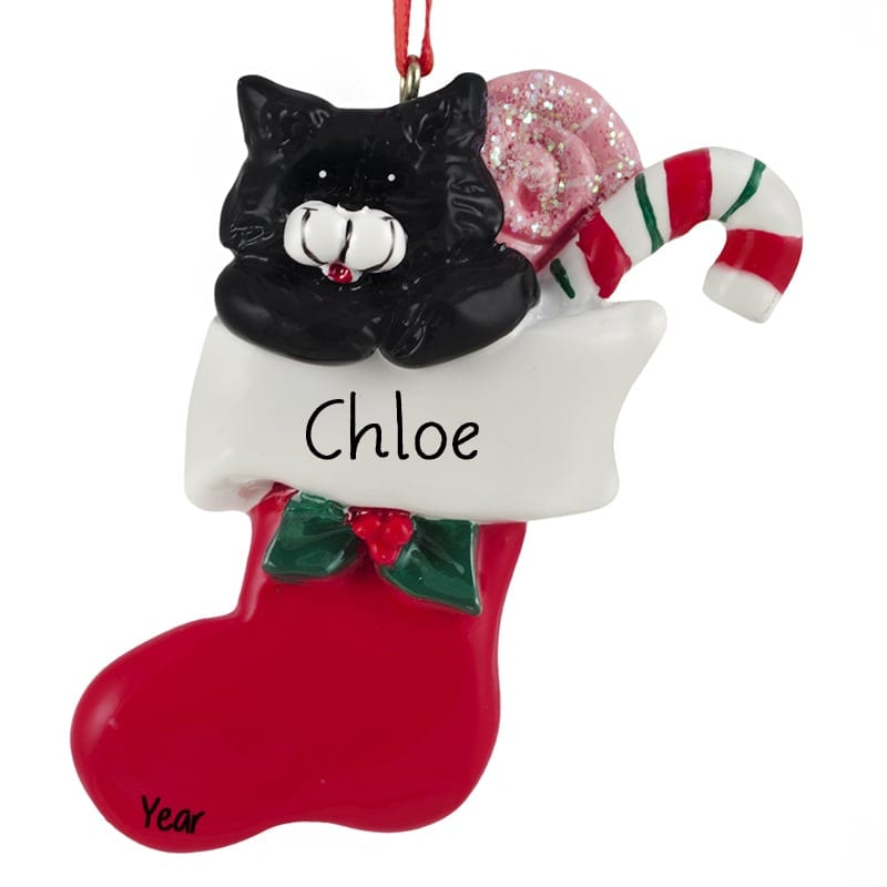 black cat candy cane stocking personalized ornament - Black Cat Christmas Tree Decoration