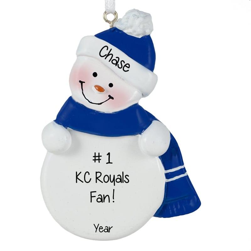 Kansas City Royals ROYAL BLUE & WHITE Snowman Ornament ...