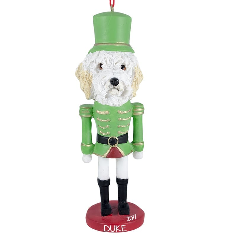 goldendoodle toy soldier personalized fully dimensional christmas ornament