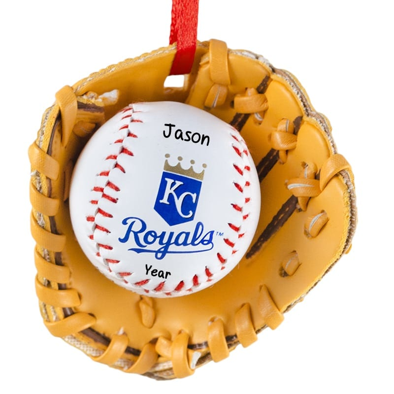 Kansas City ROYALS Baseball In Leather Glove Ornament | Personalized ...