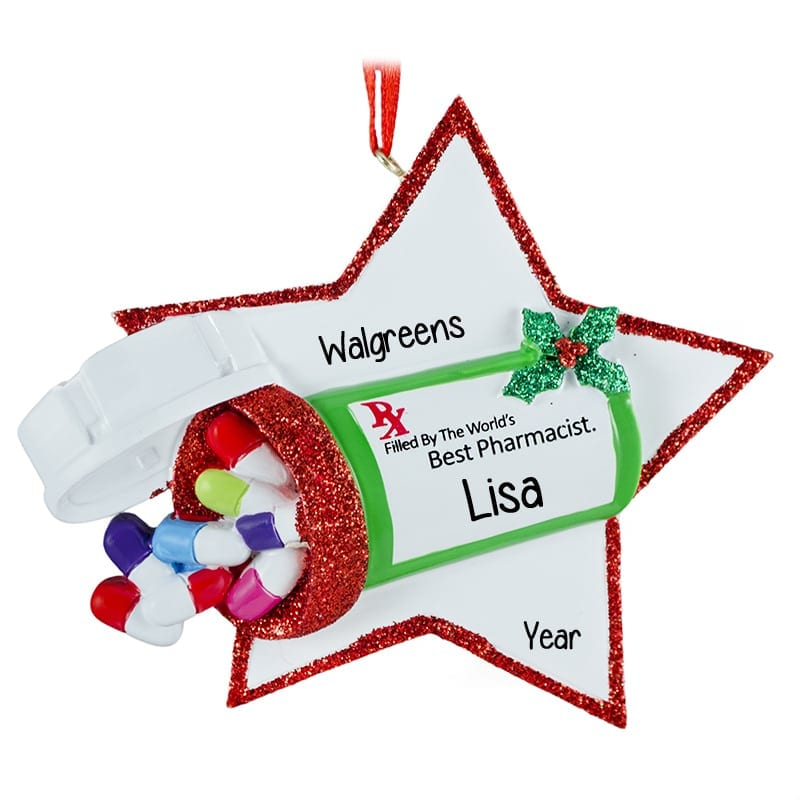 Best Pharmacist Glittered Star And Pills Personalized Ornament