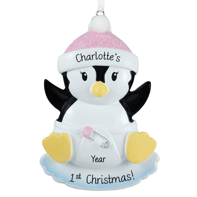 Penguin PERSONALIZED 2019 Pink Baby Girl 1st Christmas Ornament GIFT