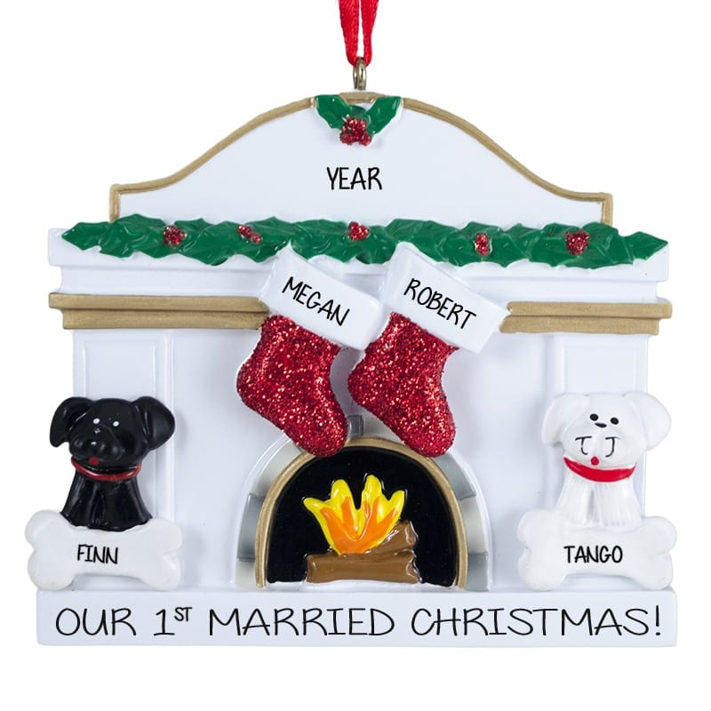 Our 1st Married Christmas With 2 Dogs Fireplace Ornament