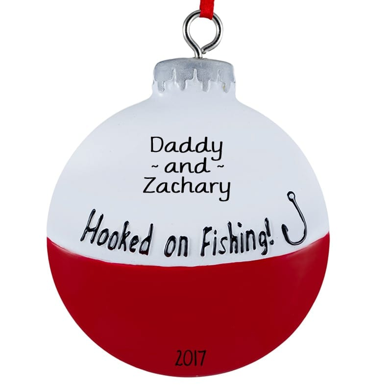 Special Christmas Ornaments.Hooked On Fishing Bobber Personalized Christmas Ornament